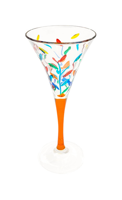 Gage Tree of Life Trumpet Wine Glass, Orange Stem