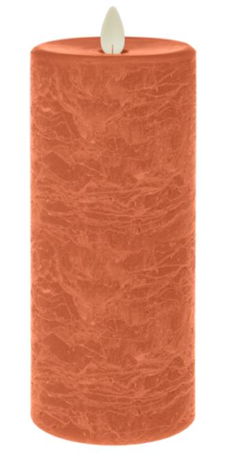 "Ganz LED Textured Wax 3x7"" Pillar, Tangerine"