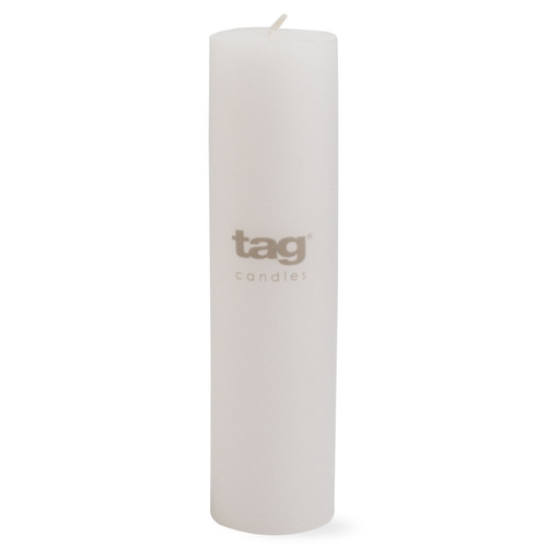"""TAG 2x8"""" Unscented Long Burning Pillar Candle, White"""