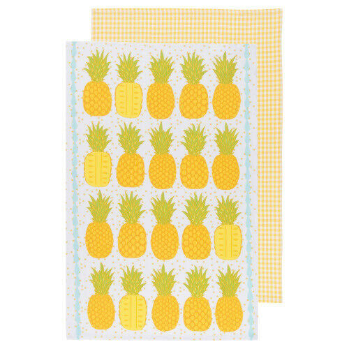 Now Designs Pineapple Printed Kitchen Towel, Set of 2