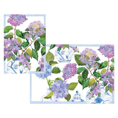 Caspari Boxed Note Cards, Hydrangeas & Porcelain, Box of 8 (91602.46)