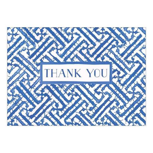Caspari Thank You Notes, Fretwork Blue, Pack of 6 (91607.48)