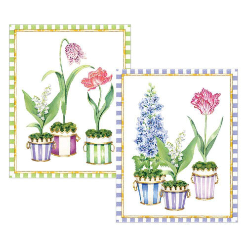 Caspari Boxed Foil-Stamped Note Cards, Window Garden, Box of 10 (91606.46A)
