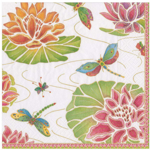 Caspari Paper Dinner Napkins, Jeweled Pond Ivory (13860D)