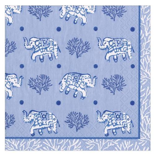 Caspari Paper Beverage Napkins, Batik Elephants Blue (16461C)