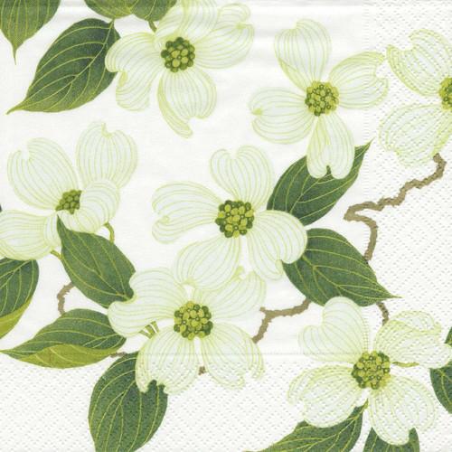 Caspari Paper Luncheon Napkins, White Blossom (9780L)