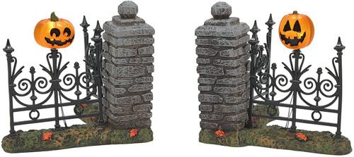 Department 56 Halloween Village Accessories Jack-O-Lantern Lit Fence Corners