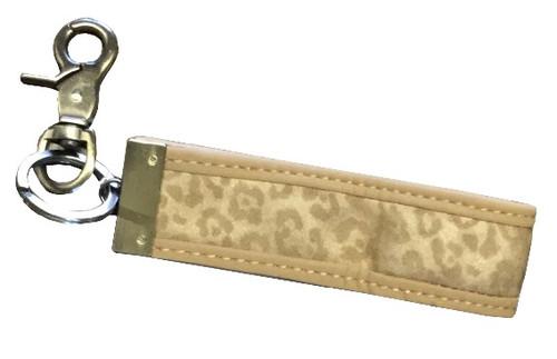 Ganz Luxe Leopard Key Clip, Tan