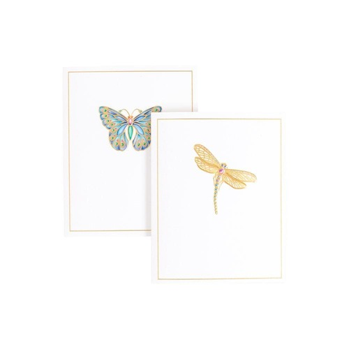 Caspari Boxed Foil-Stamped Note Cards, Jeweled Insects, Box of 10 (91604.46A)