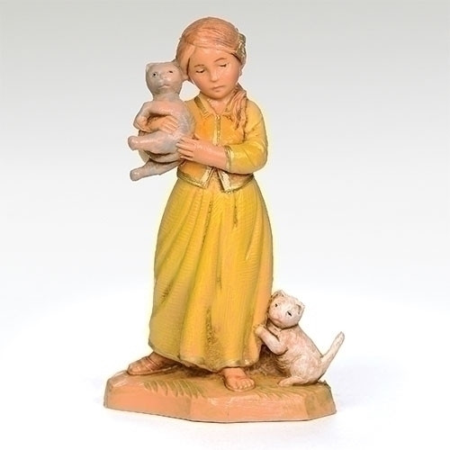 "Roman, Fontanini, 5"" Collection, Filia, Girl With Cats Nativity Figure"