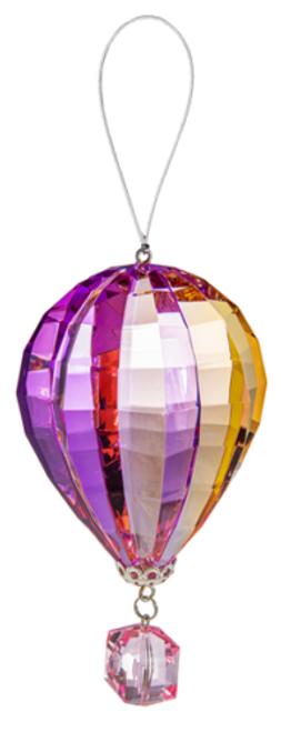Ganz Vibrant Hot Air Balloon Ornament, Pink
