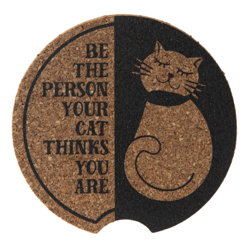 Ganz Car Coaster, Black, Your Cat Thinks You Are