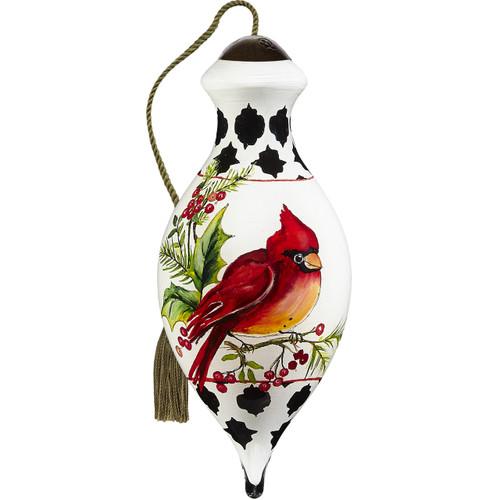 Ne'Qwa, Peace Cardinal, Hand-Painted Blown Glass Ornament