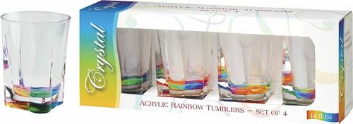 Merritt International Rainbow Crystal DOF Glass, Set of 4