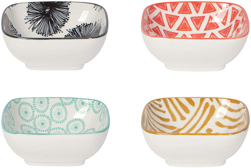 Now Designs Mix & Prep Stamped Square Pinch Bowls, Set of 4
