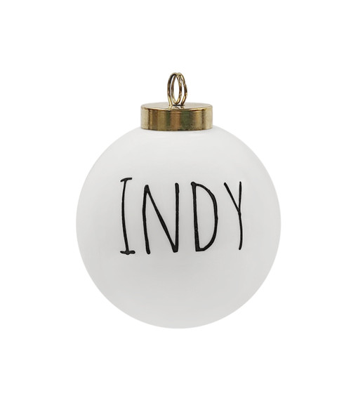 The Dish Indianapolis Ornament, Handwritten Text, Small