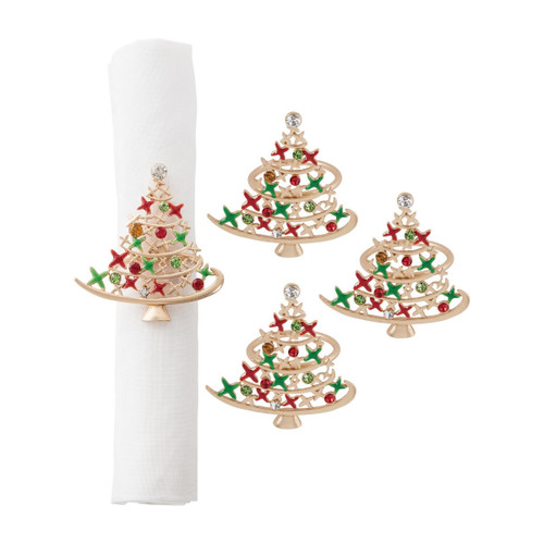 C&F Enterprises Christmas Tree Star Napkin Ring, Set of 4
