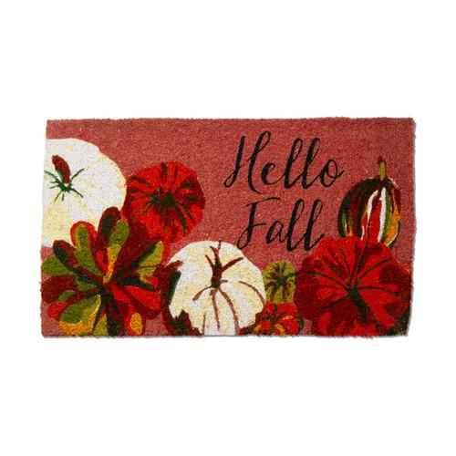 """TAG """"Hello Fall"""" Pumpkin Coir Mat"""