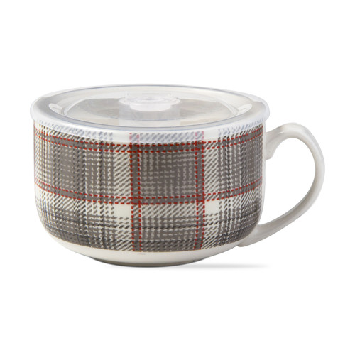 TAG Winter Plaid Soup Mug w/ Lid