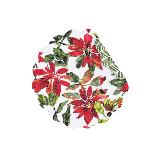 """C&F - 17"""" Round Quilted Poinsettia Berry Placemat, Set of 4"""