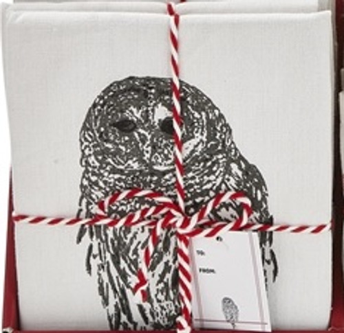 TAG Winter Sketch Animal Dishtowel, Owl