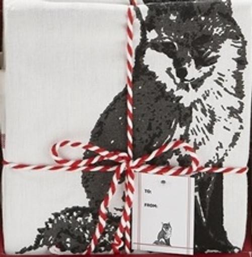 TAG Winter Sketch Animal Dishtowel, Fox