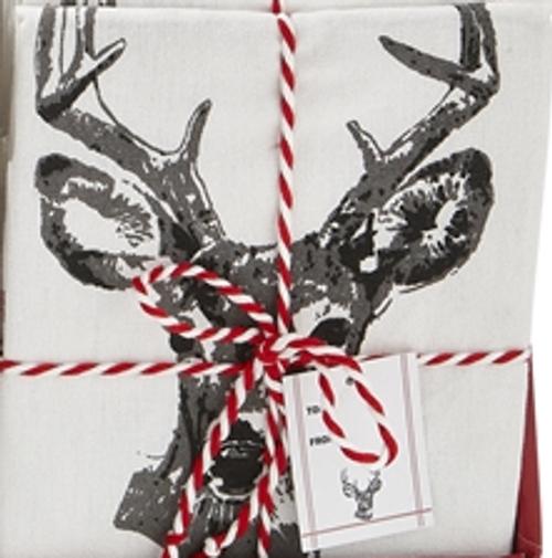 TAG Winter Sketch Animal Dishtowel, Deer