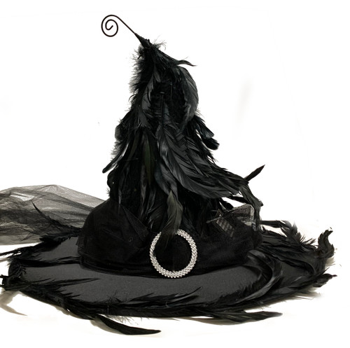 180 Black Feathered Witch Hat with Buckle