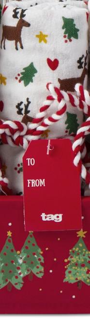 TAG Whimsy Holiday Flour Sack Dishtowel, Reindeer