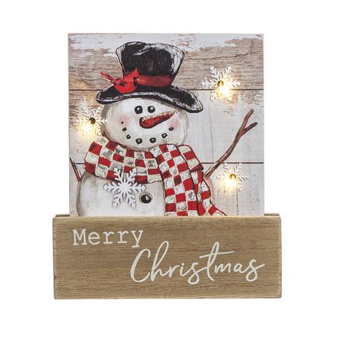 Ganz Light Up Snowman Plaque, Merry Christmas