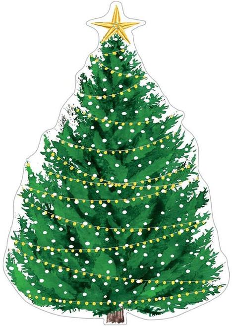 Caspari Die-Cut Gift Tags, Christmas Tree with Lights (TAG9771)