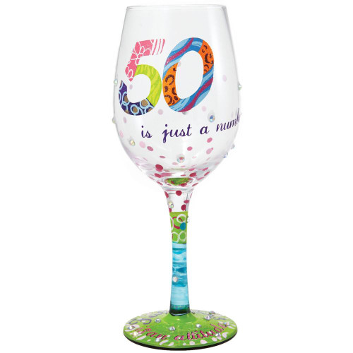 Enesco Lolita Wine Glass, 50 Is Just a Number