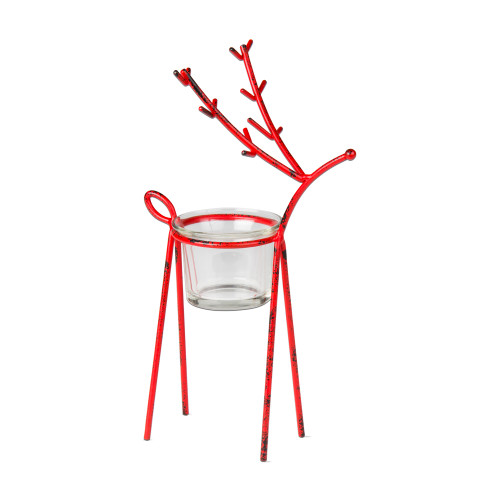 TAG Red Reindeer Tealight Holder, Small