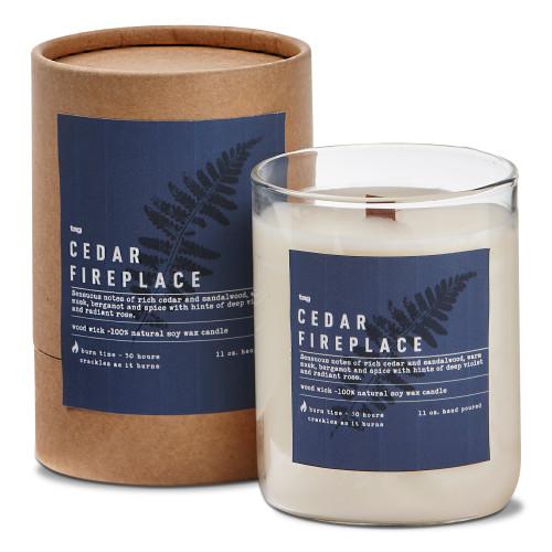 TAG Wood Wick Candle, Cedar Fireplace