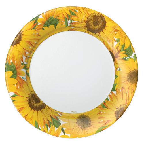 Caspari Round Paper Dinner Plates, Sunflowers (16520DP)
