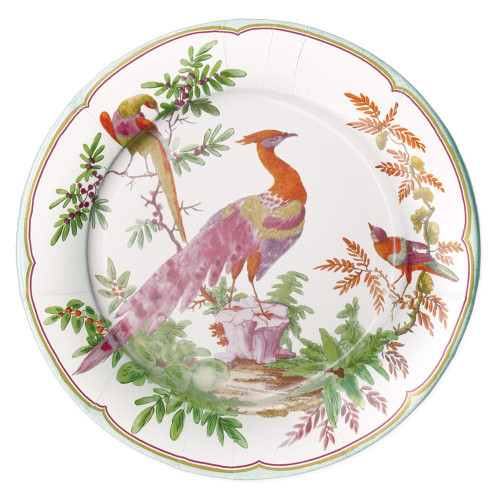 Caspari Round Paper Dinner Plates, Chelsea Birds Celadon (16581DP)