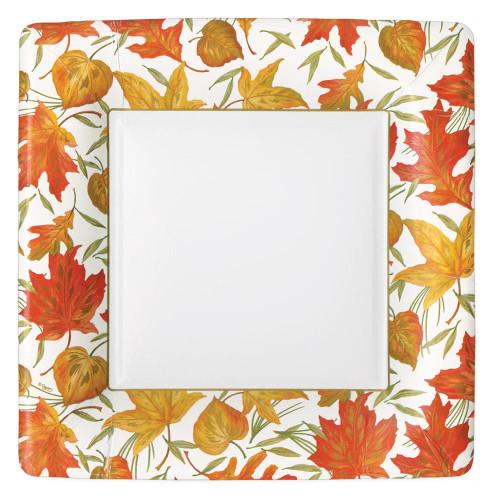 Caspari Square Paper Dinner Plates, Woodland Leaves (16540DP)