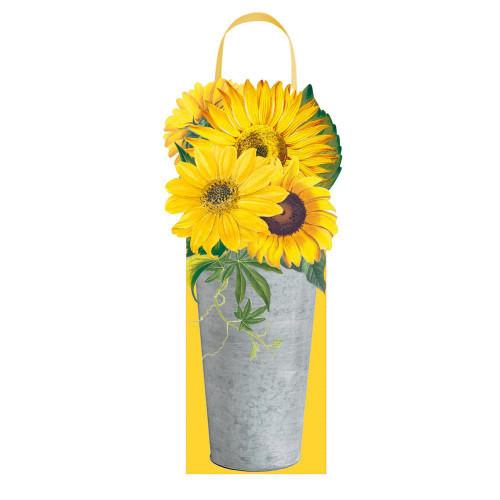 Caspari Wine & Bottle Gift Bag, Sunflowers (9799B4)
