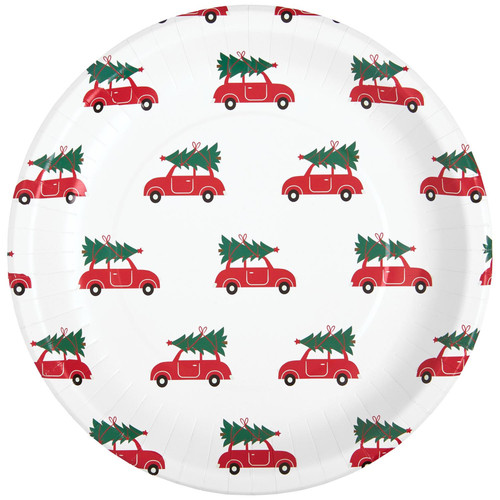 C.R. Gibson Round Paper Dinner Plates, Christmas Red Car