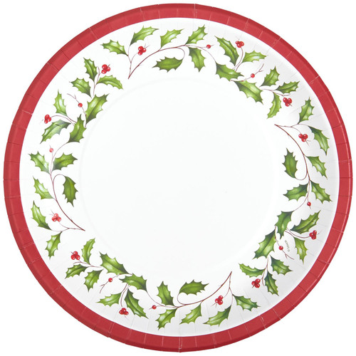 C.R. Gibson Round Paper Dinner Plates, Holly