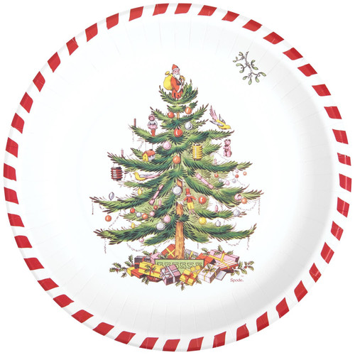 C.R. Gibson Round Paper Dinner Plates, Candy Cane Christmas Tree