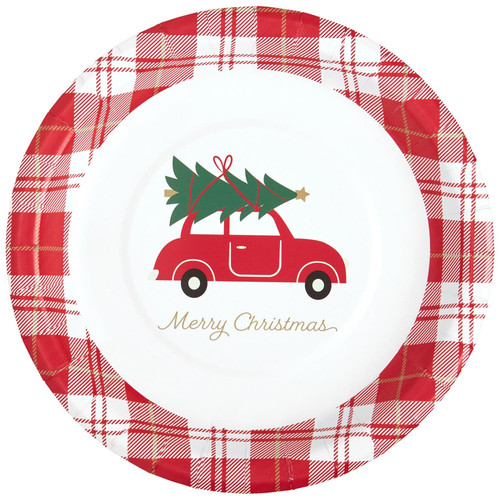 C.R. Gibson Paper Lunch/Dessert Plates, Christmas Red Car