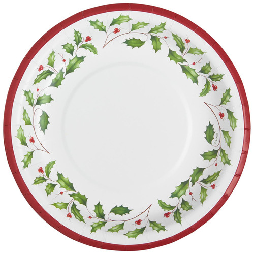 C.R. Gibson Paper Lunch/Dessert Plates, Holly