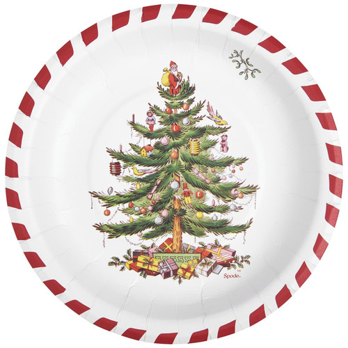 C.R. Gibson Paper Lunch/Dessert Plates, Candy Cane Christmas Tree