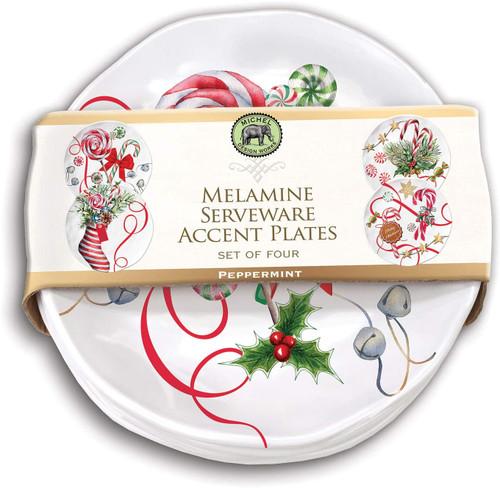 Michel Design Works Melamine Serveware Accent Plate Set, Peppermint (SWPS347)