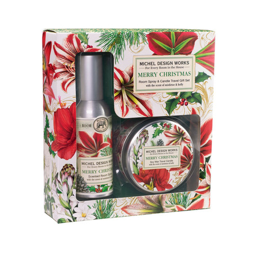 Michel Design Works Room Spray and Travel Candle Set, Merry Christmas (RCS346)
