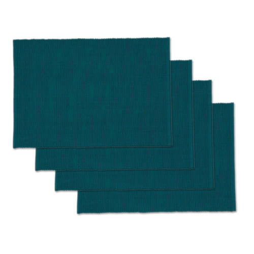 Design Imports India Ribbed Peacock Placemat, Set of 4