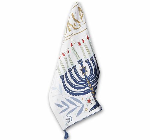 Design Imports India Happy Hanukkah Dishtowel, Menorah