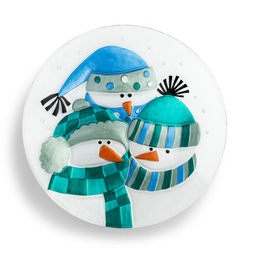 Demdaco Snowman Family Round Plate