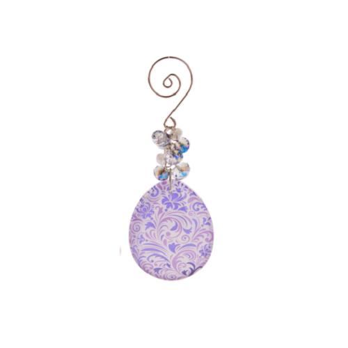 Ganz Metallic Glass Egg Ornament - Purple
